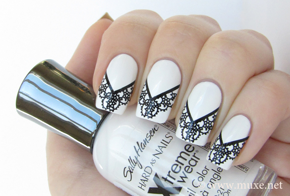 Black and white lace nails