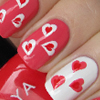 Red & white hearts on coral