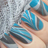Blue Water Marbled Nails