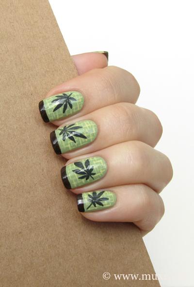 Hemp leaves nails