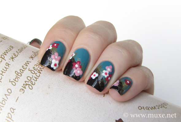 Flowers on black nail art
