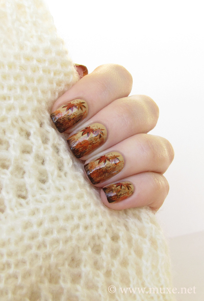 Fall leaves nail design