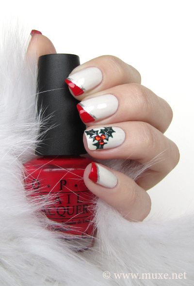 Christmas nail art red and white
