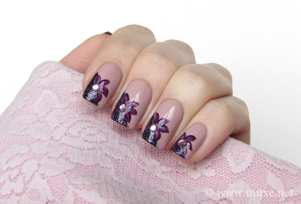 Floral nail design with rhinestones