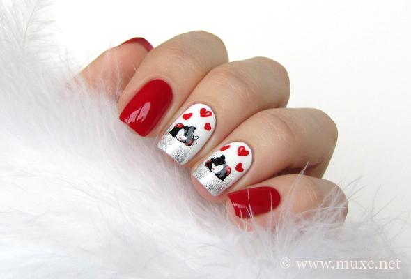 Love and hearts nail art