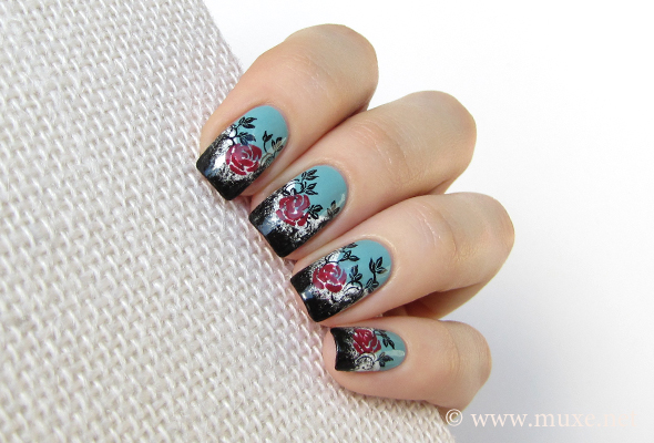 Floral nail art with roses