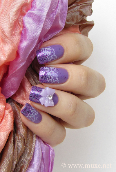 Lilac nail art with 3D bow