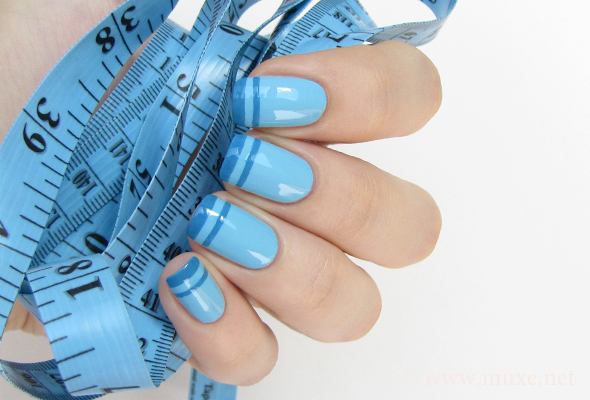 Blue nails with french tips