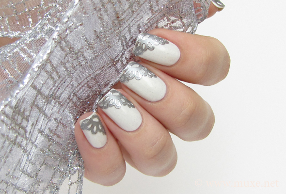 Silver lace nails with decals