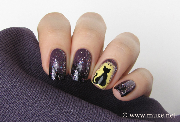 Black cat nails for Halloween