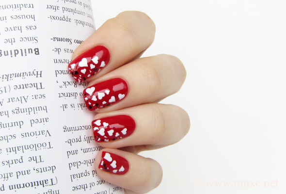 Valentine's Day broken hearts nail design