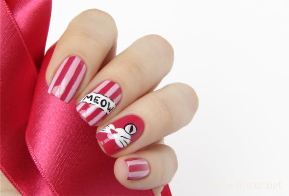 Cat nail art in pink