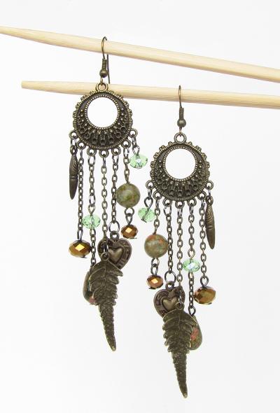 Boho bronze jasper earrings