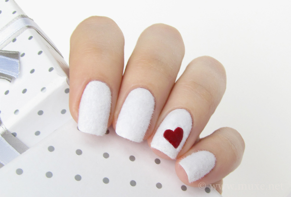 White fuzzy nails design