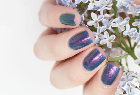 Purple green shimmer nail polish
