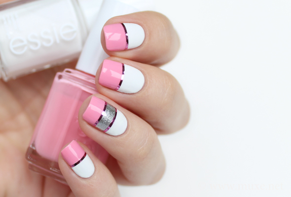 Pink white nail art with silver