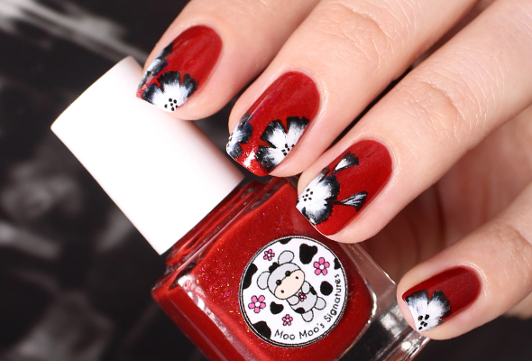 Red floral nail design brush stroke