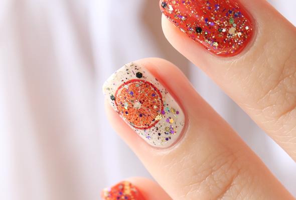 Orange nail polish glitter swatch