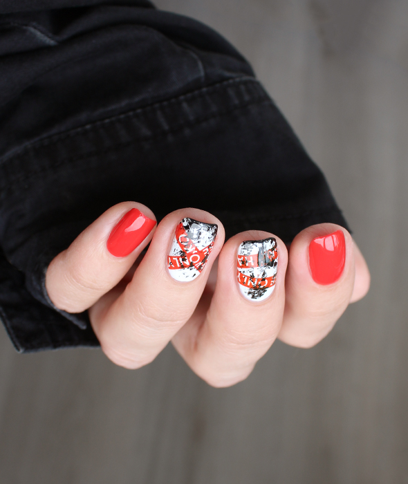 Red white black nail design do not cross tape