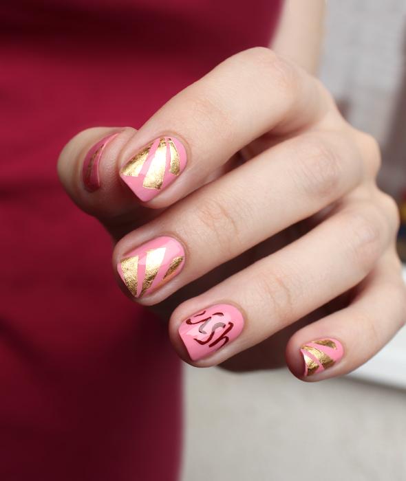 Pink gold nail foil design