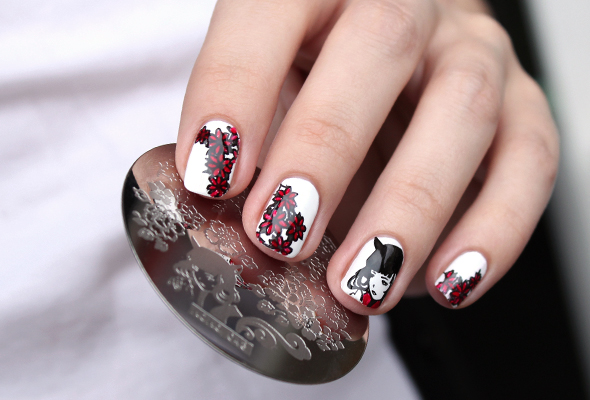 Black and red floral stamping