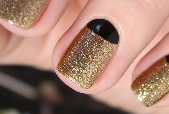 Gold and black half moon glitter nail art