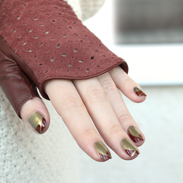 Brown and green french nails design