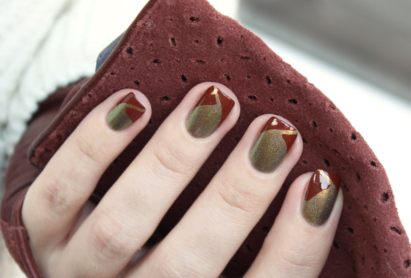 Brown and green french manicure