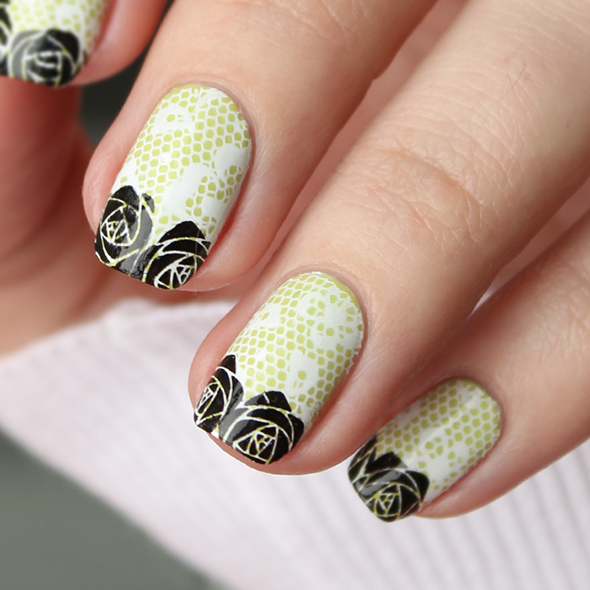 Lace and roses over green nail art