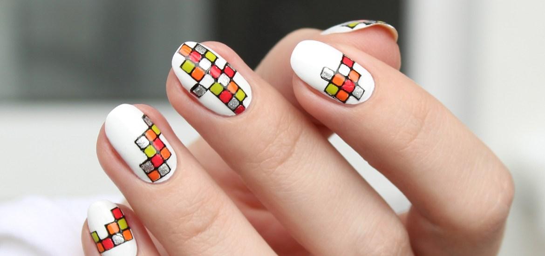 Tetris nail art design