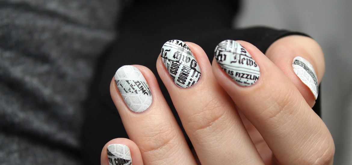 Newspaper nails with HEHE stamping plate 003 – Mari\'s Nail Polish Blog