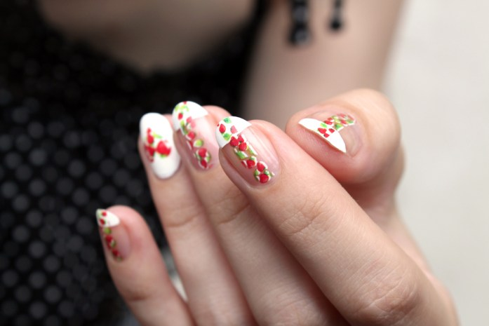 Strawberry nail design art