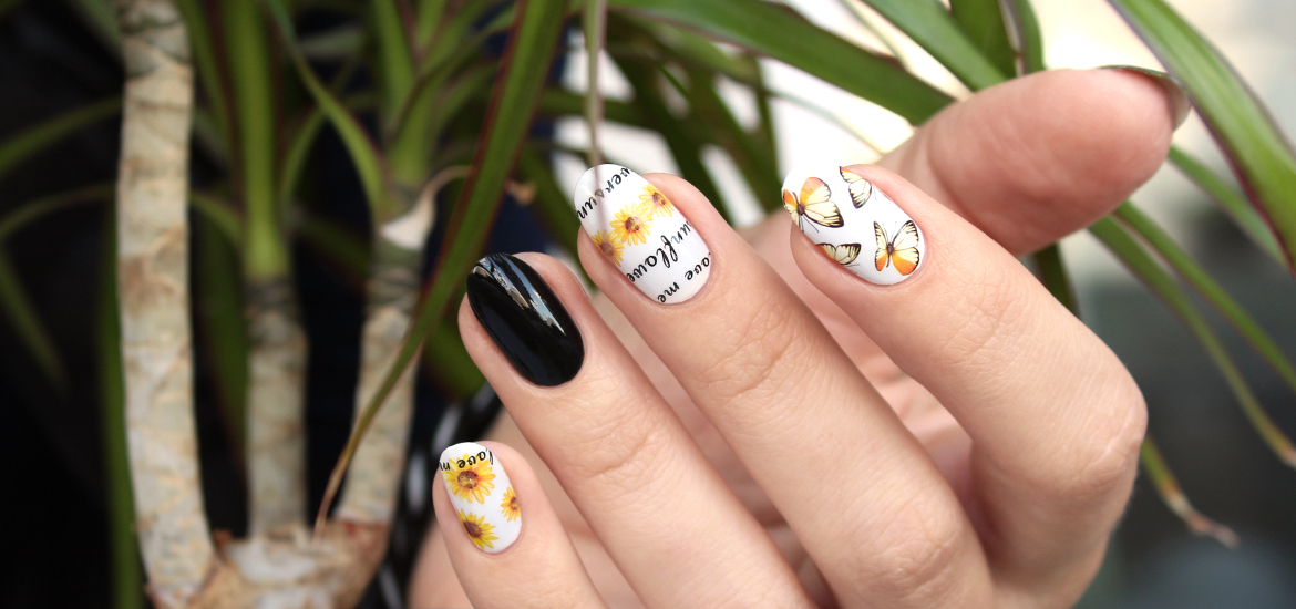 Sunflower nail water decals