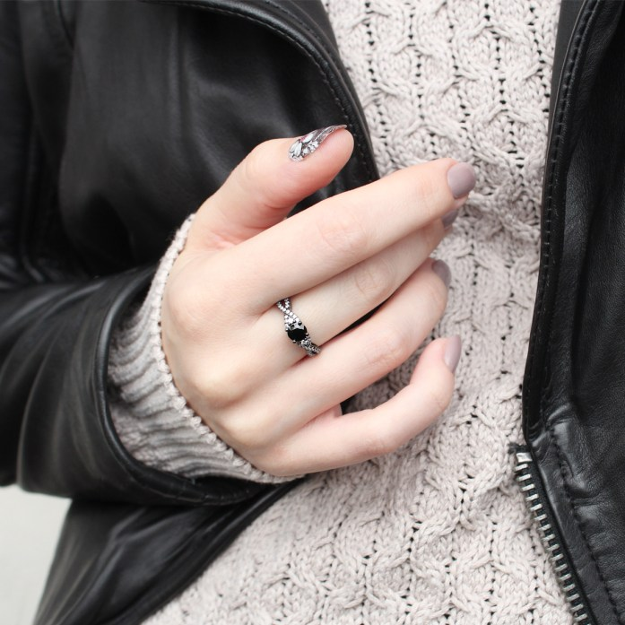 Black gold pleated silver ring