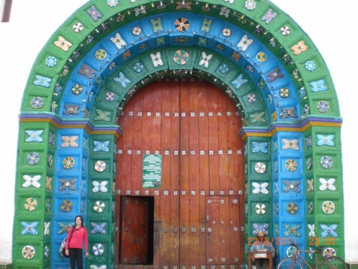 The facade of the church in San Juan Chamula