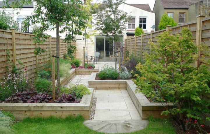 Japanese garden backyard design with zigzag design and patio for Tranquil garden designs