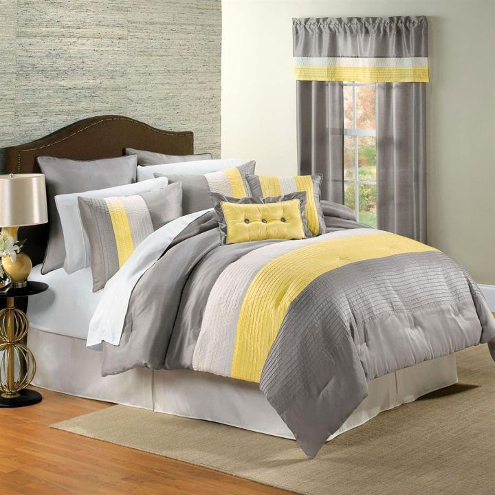 cozy stripes yellow gray bedroom