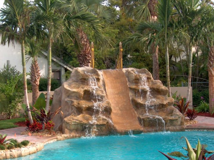 17 fascinating pools with waterfalls ideas - Swimming pool designs with slides ...