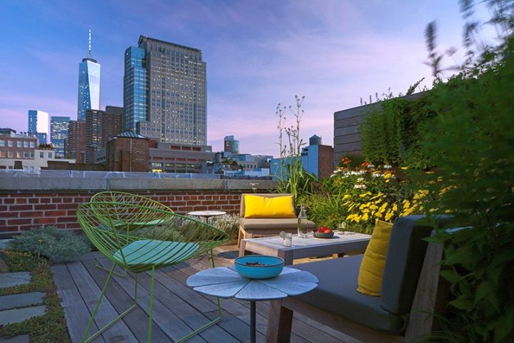 rooftop garden manhattan new york Tribeca Apartment Remodeling by Andrew Franz - USA