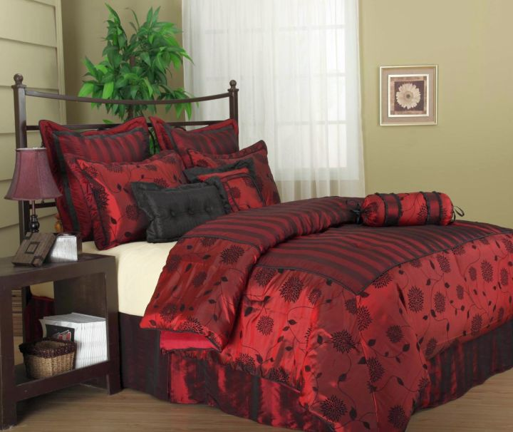 black and red bedroom ideas with dark wood furniture