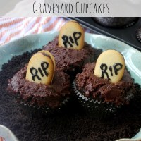 Double Chocolate Halloween Graveyard Cupcakes