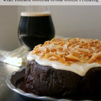 Guinness Chocolate Cake with Toasted Coconut Cream Cheese Frosting