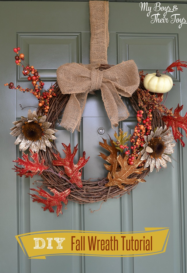Simple Fall Diy Wreath Tutorial My Boys And Their Toys