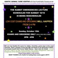Rabbit Lecture Rescheduled, Exams and Grooming Only on Oct 15