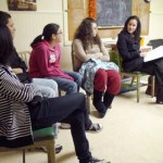 From left to right, Hannah Kim, Preston Bogan, Natalie Pugliese, Taline Agamy and youth group leader Ruth Urbina-Lilback discuss the teens' various service projects Monday at Naugatuck United Methodist Church.