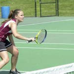 Naugatuck's Danielle Charette's athletic net play helped her and doubles teammate Rebeka Mitchell win a silver medal in the NVL tournament.