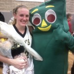 Woodland's Heather Framski scored her 1,000 career point against Kennedy this year and was congratulated by her friend Gumby. Framski went on to become the school's all-time leading scorer with 1,261 points. FILE PHOTO