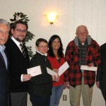 Pictured from left, Elk committee member Robert Lauer, Matt Yanerella of the Whittomore Library, Terry Stieber of the Naugatuck VNA, Karen Lineweber of the YMCA, Peter Varney of the Ecumenical Food Bank and James Desmarais,  Elk committee member. - CONTRIBUTED