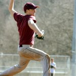 Naugatuck's Seth Mulhall unleashes a pitch during practice last week. Mulhall is among four Naugy hurlers who will look to round out the Greyhounds pitching corps this season. PHOTO BY LARAINE WESCHLER