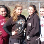 Naugatuck senior softball captains, from left, Melissa Kirschbaum, Lianne Wallace, Daniella Stoehrer, Melissa LaBonte are looking to the lead the Greyhounds to another NVL title. PHOTO BY KEN MORSE